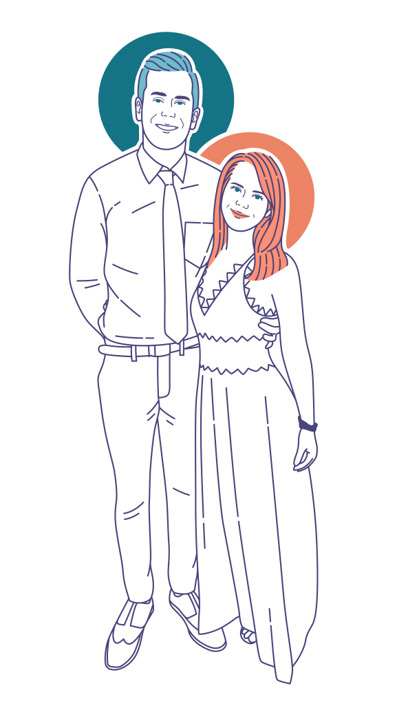 Line drawing of a male and female with orange and blue